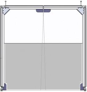 Brama wahadłowa 2-częściowa (dół nietransparentny; góra transparentna)